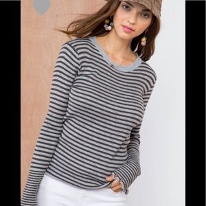 Striped knit round neck top (COMING)